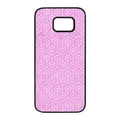 Hexagon1 White Marble & Pink Colored Pencil Samsung Galaxy S7 Edge Black Seamless Case by trendistuff