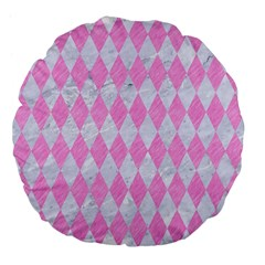 Diamond1 White Marble & Pink Colored Pencil Large 18  Premium Flano Round Cushions by trendistuff