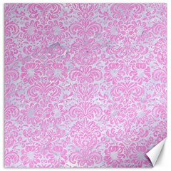 Damask2 White Marble & Pink Colored Pencil (r) Canvas 16  X 16   by trendistuff