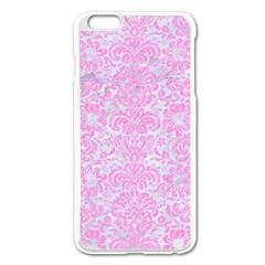 Damask2 White Marble & Pink Colored Pencil (r) Apple Iphone 6 Plus/6s Plus Enamel White Case by trendistuff