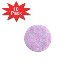 Damask1 White Marble & Pink Colored Pencil (r) 1  Mini Magnet (10 Pack)  by trendistuff