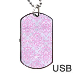 Damask1 White Marble & Pink Colored Pencil (r) Dog Tag Usb Flash (two Sides)