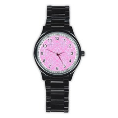 Damask1 White Marble & Pink Colored Pencil Stainless Steel Round Watch by trendistuff