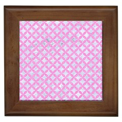 Circles3 White Marble & Pink Colored Pencil (r) Framed Tiles by trendistuff
