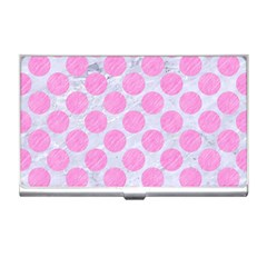 Circles2 White Marble & Pink Colored Pencil (r) Business Card Holders by trendistuff