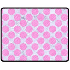 Circles2 White Marble & Pink Colored Pencil (r) Fleece Blanket (medium)