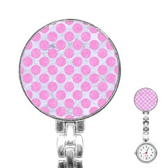 Circles2 White Marble & Pink Colored Pencil (r) Stainless Steel Nurses Watch