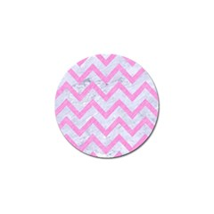 Chevron9 White Marble & Pink Colored Pencil (r) Golf Ball Marker (4 Pack) by trendistuff