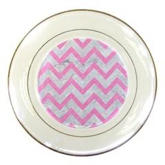 Chevron9 White Marble & Pink Colored Pencil (r) Porcelain Plates