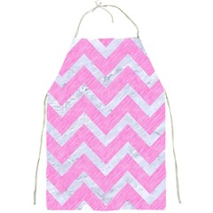Chevron9 White Marble & Pink Colored Pencil Full Print Aprons by trendistuff
