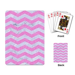 Chevron3 White Marble & Pink Colored Pencil Playing Card by trendistuff
