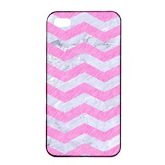 Chevron3 White Marble & Pink Colored Pencil Apple Iphone 4/4s Seamless Case (black) by trendistuff