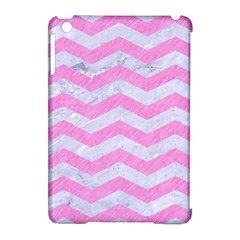 Chevron3 White Marble & Pink Colored Pencil Apple Ipad Mini Hardshell Case (compatible With Smart Cover) by trendistuff