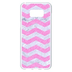 Chevron3 White Marble & Pink Colored Pencil Samsung Galaxy S8 Plus White Seamless Case by trendistuff