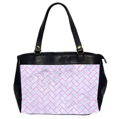 Brick2 White Marble & Pink Colored Pencil (r) Office Handbags (2 Sides)  by trendistuff
