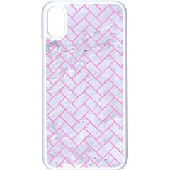 Brick2 White Marble & Pink Colored Pencil (r) Apple Iphone X Seamless Case (white)