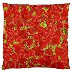 Strawberry Large Flano Cushion Case (two Sides) by eyeconart