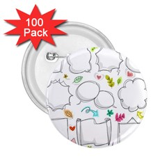 Set Chalk Out Chitchat Scribble 2 25  Buttons (100 Pack)