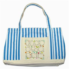 Set Chalk Out Chitchat Scribble Striped Blue Tote Bag