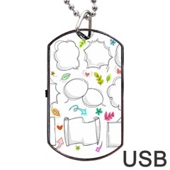 Set Chalk Out Chitchat Scribble Dog Tag Usb Flash (two Sides)