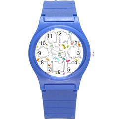 Set Chalk Out Chitchat Scribble Round Plastic Sport Watch (s)