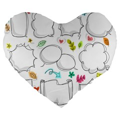 Set Chalk Out Chitchat Scribble Large 19  Premium Flano Heart Shape Cushions