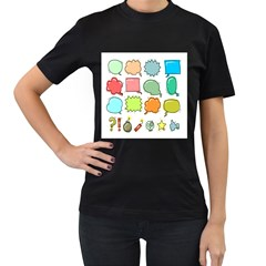 Set Collection Balloon Image Women s T Shirt (black) (two Sided)