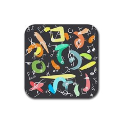 Repetition Seamless Child Sketch Rubber Square Coaster (4 Pack)