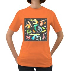 Repetition Seamless Child Sketch Women s Dark T Shirt