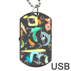 Repetition Seamless Child Sketch Dog Tag Usb Flash (one Side)