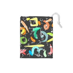 Repetition Seamless Child Sketch Drawstring Pouches (small)