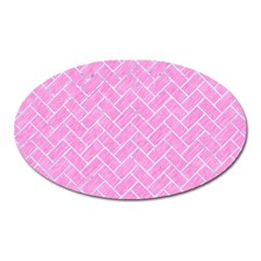 Brick2 White Marble & Pink Colored Pencil Oval Magnet by trendistuff