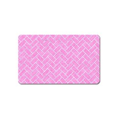Brick2 White Marble & Pink Colored Pencil Magnet (name Card) by trendistuff