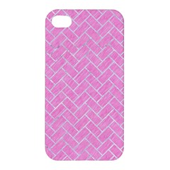 Brick2 White Marble & Pink Colored Pencil Apple Iphone 4/4s Hardshell Case by trendistuff