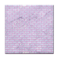 Brick1 White Marble & Pink Colored Pencil (r) Tile Coasters by trendistuff