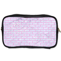 Brick1 White Marble & Pink Colored Pencil (r) Toiletries Bags by trendistuff