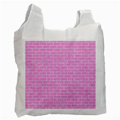 Brick1 White Marble & Pink Colored Pencilbrick1 White Marble & Pink Colored Pencil Recycle Bag (one Side) by trendistuff