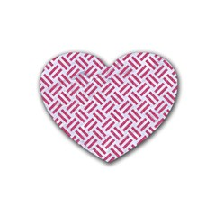 Woven2 White Marble & Pink Denim (r) Heart Coaster (4 Pack)  by trendistuff