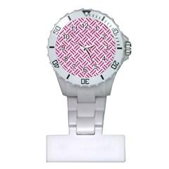 Woven2 White Marble & Pink Denim (r) Plastic Nurses Watch by trendistuff