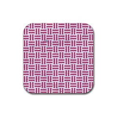 Woven1 White Marble & Pink Denim (r) Rubber Square Coaster (4 Pack)  by trendistuff