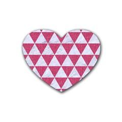 Triangle3 White Marble & Pink Denim Rubber Coaster (heart)  by trendistuff