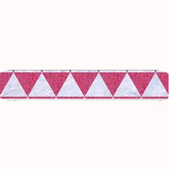 Triangle3 White Marble & Pink Denim Small Bar Mats by trendistuff
