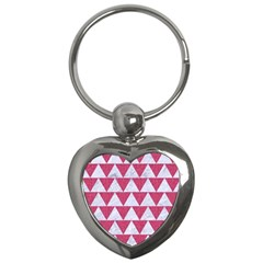 Triangle2 White Marble & Pink Denim Key Chains (heart)  by trendistuff