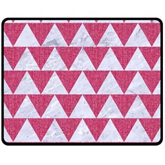 Triangle2 White Marble & Pink Denim Fleece Blanket (medium)  by trendistuff
