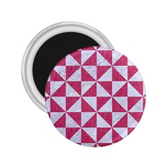 Triangle1 White Marble & Pink Denim 2 25  Magnets by trendistuff