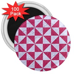 Triangle1 White Marble & Pink Denim 3  Magnets (100 Pack) by trendistuff