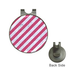 Stripes3 White Marble & Pink Denim (r) Hat Clips With Golf Markers