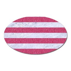 Stripes2white Marble & Pink Denim Oval Magnet by trendistuff