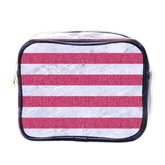 Stripes2white Marble & Pink Denim Mini Toiletries Bags by trendistuff