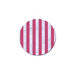 Stripes1 White Marble & Pink Denim Golf Ball Marker by trendistuff